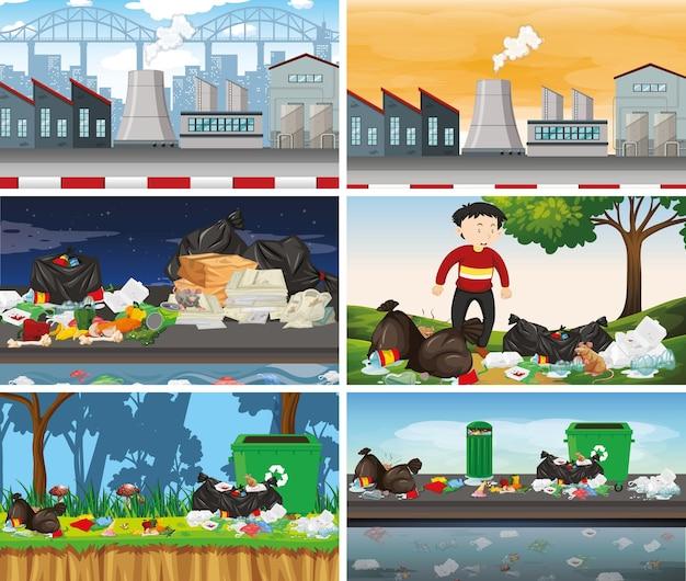 Conjunto de escenas de contaminación.