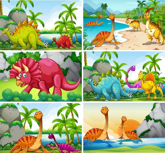 Conjunto de escenas de dinosaurios.