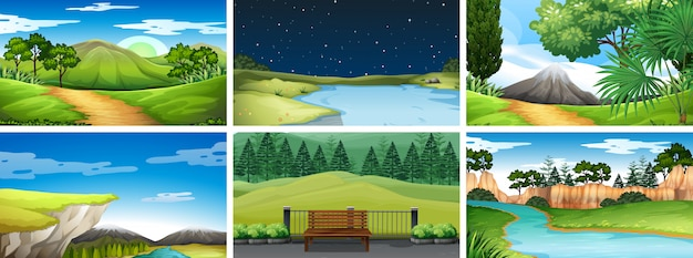 Conjunto de escenas diurnas y nocturnas en la naturaleza.