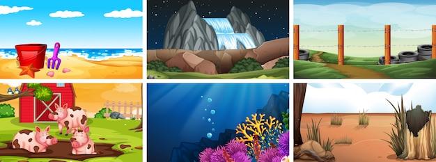 Conjunto de escenas diurnas, nocturnas y subacuáticas o de fondo.