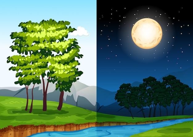 Conjunto de escenas diurnas y nocturnas