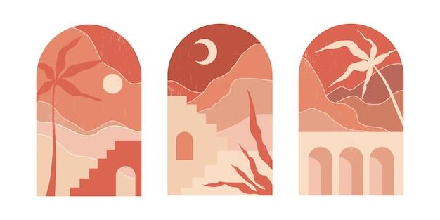 Conjunto de escenas con edificios y plantas en arcos.