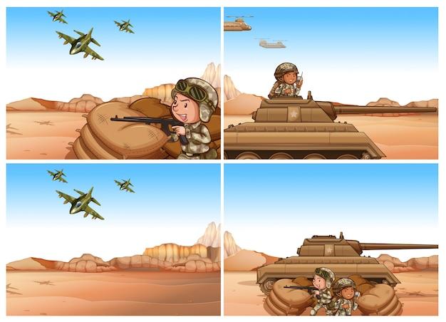 Conjunto de escenas del ejército y la guerra