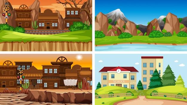 Conjunto de escenas en entorno natural.