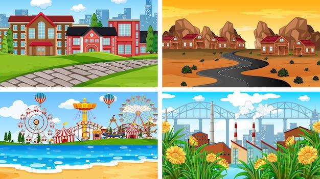 Conjunto de escenas en el entorno de la naturaleza.