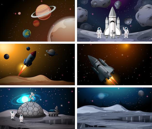 Conjunto de escenas de espacio exterior conjunto de fondo