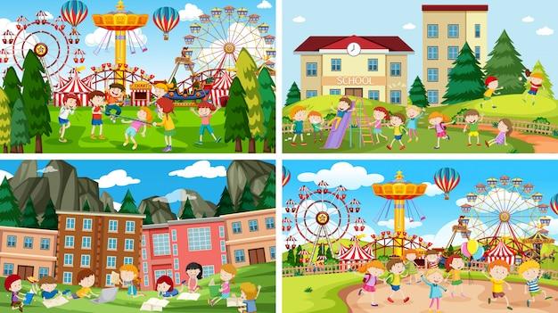 Conjunto de escenas en la feria.