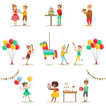 Conjunto de escenas de fiesta de cumpleaños para niños