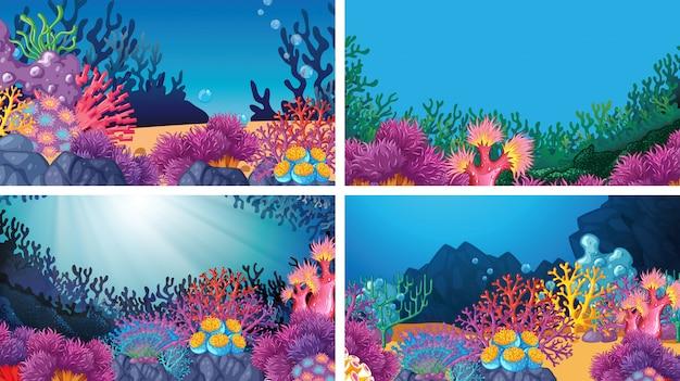 Conjunto de escenas de fondo en entorno natural.