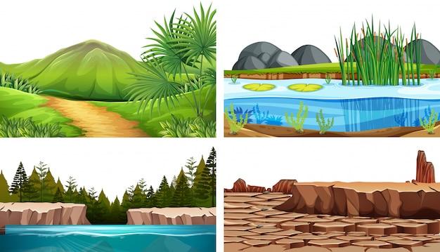 Conjunto de escenas de fondo natural.