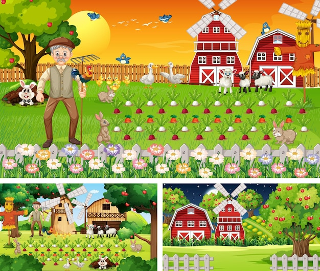 Conjunto de escenas de la granja en diferentes momentos.