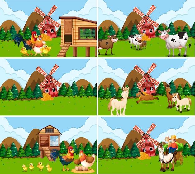 Conjunto de escenas de granja con