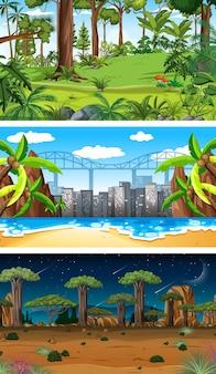 Conjunto de escenas horizontales de diferente naturaleza.