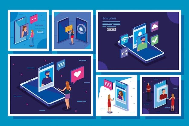 Conjunto de escenas con iconos de teléfonos inteligentes y redes sociales