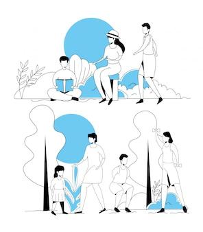Conjunto de escenas de jóvenes haciendo actividades