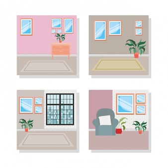 Conjunto de escenas de lugares interiores de la casa