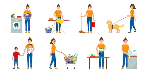 Conjunto de escenas con mujer haciendo tareas domésticas.