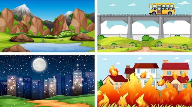 Conjunto de escenas de naturaleza al aire libre