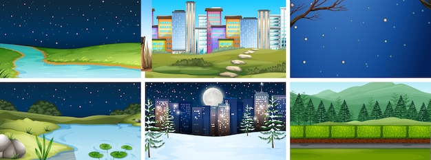 Conjunto de escenas de la naturaleza y la ciudad de día y noche o de fondo