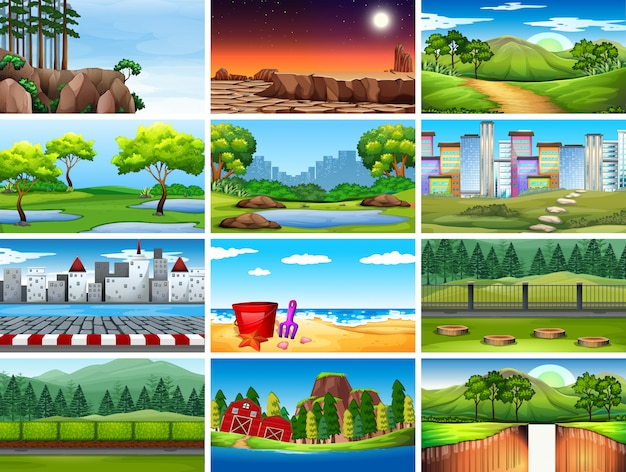 Conjunto de escenas de la naturaleza día y noche.