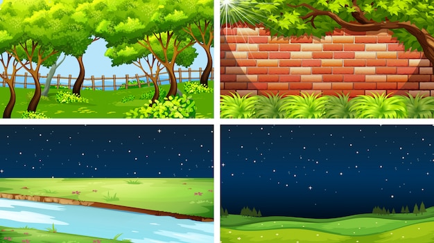 Conjunto de escenas de la naturaleza día y noche