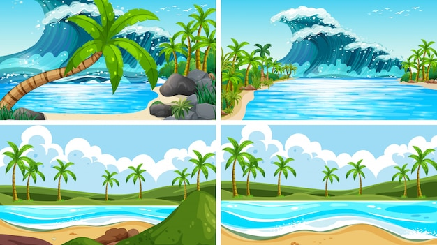 Conjunto de escenas de la naturaleza del océano tropical con playas