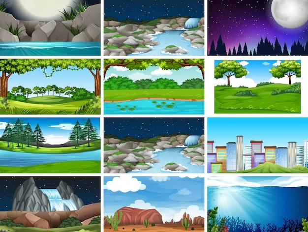 Conjunto de escenas de la naturaleza vacías de día y de noche, incluida la ciudad.