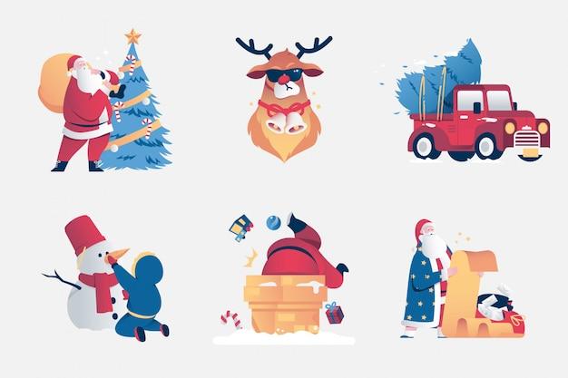 Conjunto de escenas navideñas