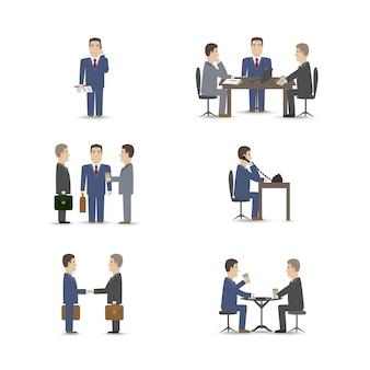 Conjunto de escenas de negociaciones de personas de negocios