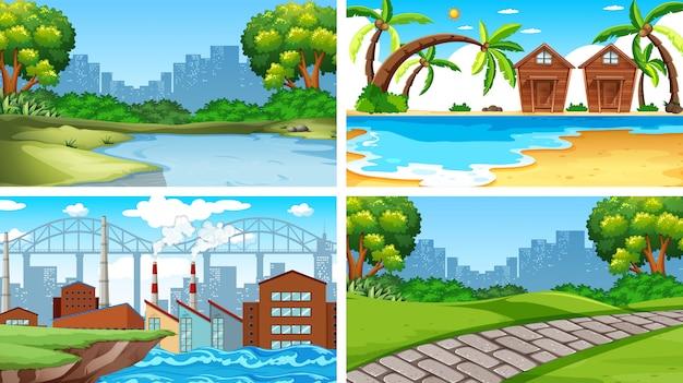 Conjunto de escenas o fondo en entorno natural.
