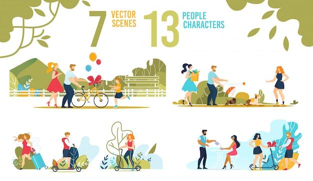 Conjunto de escenas de personajes de personas y familias felices