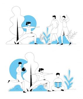 Conjunto de escenas de personas haciendo actividades