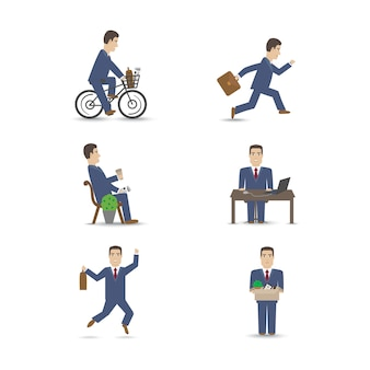 Conjunto de escenas de personas de oficina de negocios