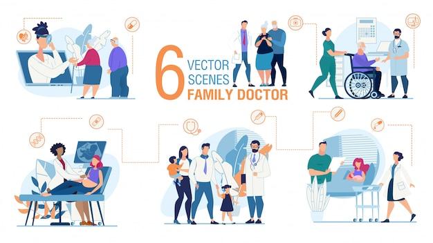 Conjunto de escenas planas de moda del trabajo del médico de familia