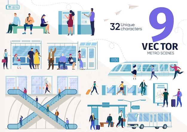 Conjunto de escenas planas de pasajeros de metro de la ciudad