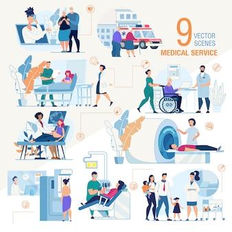 Conjunto de escenas planas de servicios médicos de la clínica