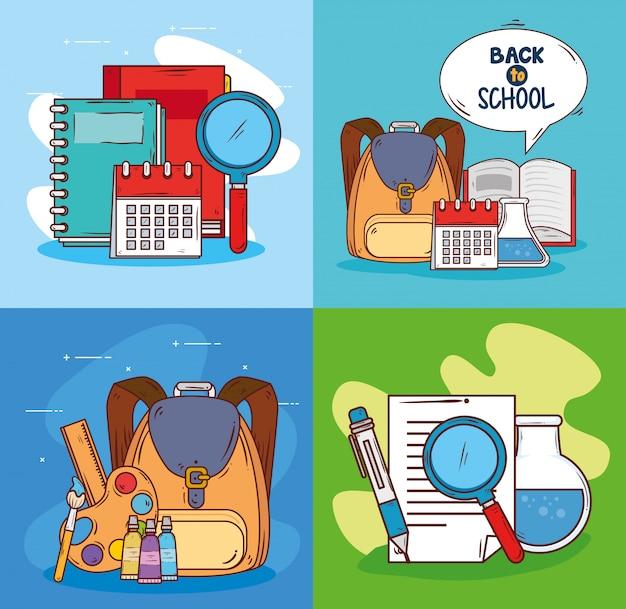 Conjunto de escenas con suministros educativos.