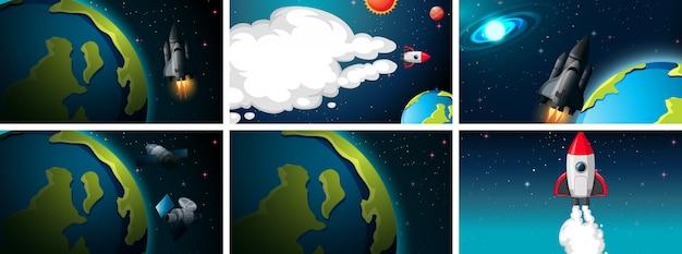 Conjunto de escenas de tierra y cohetes