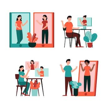Conjunto de escenas de videoconferencia de amigos dibujados a mano.