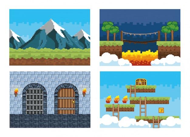 Conjunto de escenas de videojuegos pixelados.