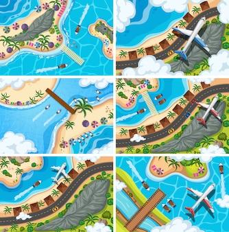 Conjunto de escenas de vista aérea