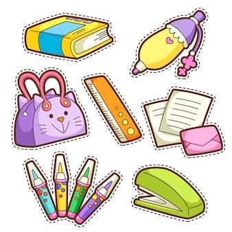 Conjunto escolar. conjunto de diferentes artículos escolares, ilustración.
