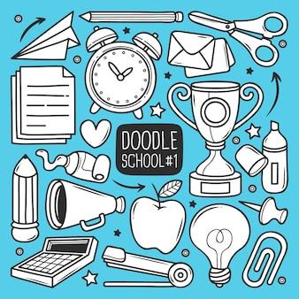 Conjunto escolar de doodle