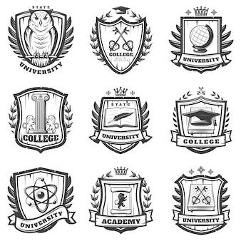 Conjunto de escudo de armas educativo vintage
