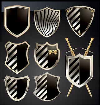 Conjunto escudo dorado y gris.