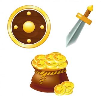 Conjunto de escudo, espada y bolsa de dinero