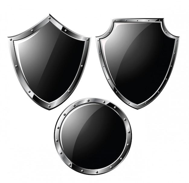 Conjunto de escudos de acero negro.