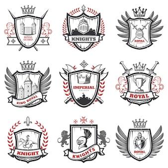 Conjunto de escudos de armas de caballero medieval