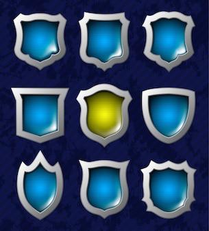 Conjunto de escudos brillantes
