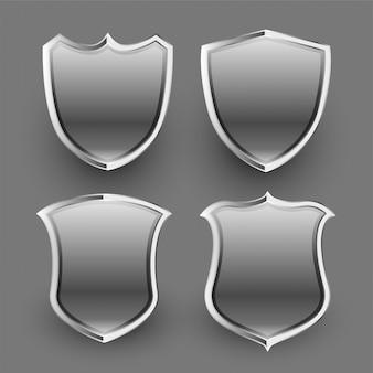 Conjunto de escudos y escudos metálicos brillantes 3d